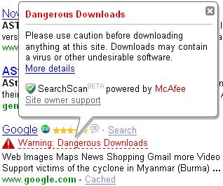 Google Dangerous Downloads