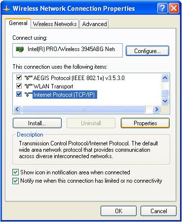 Internet Connection Properties