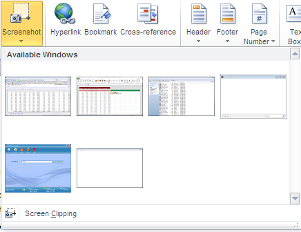 Insert Screenshot MS Office 2010