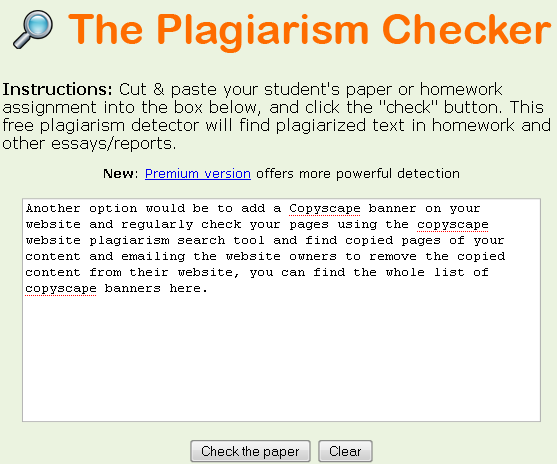 plagiarism essay scanner Students use our free plagiarism checker online to scan papers, assignments, or essays easily with accurate results alternative to turn-it-in with percentage results.