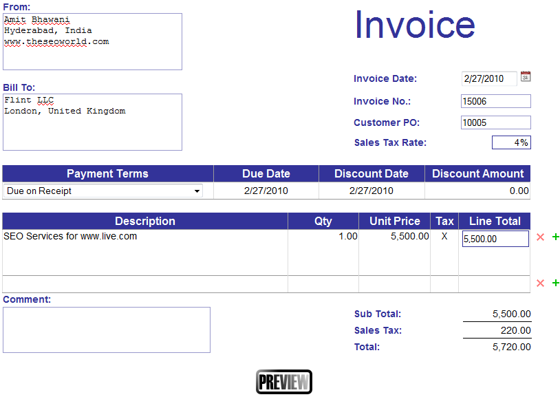 High Quality Make A Invoice Free  Free Online Invoices