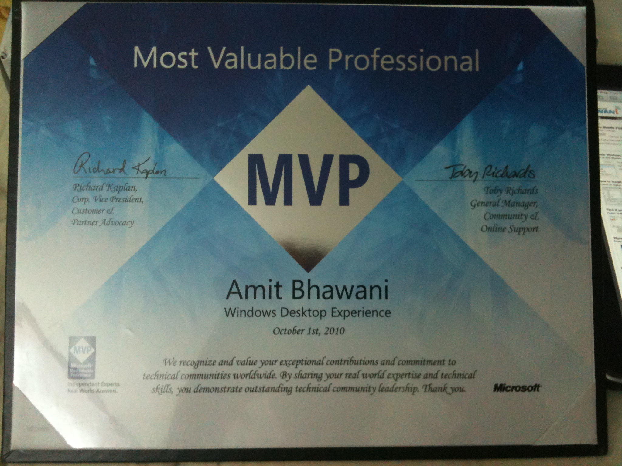 received microsoft most valuable professional mvp award 2010