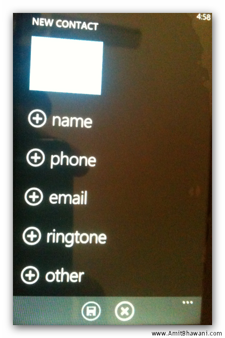 new contact windows phone