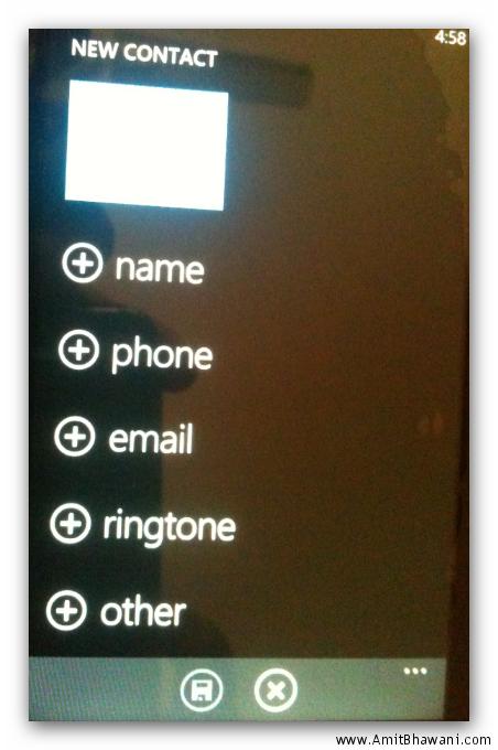 new contact windows phone