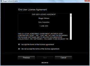 Sony Bloggie EULA Accept