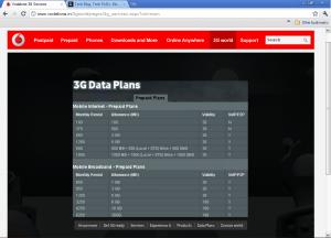 Vodafone 3G Prepaid Plans