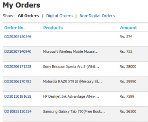 Flipkart Orders List
