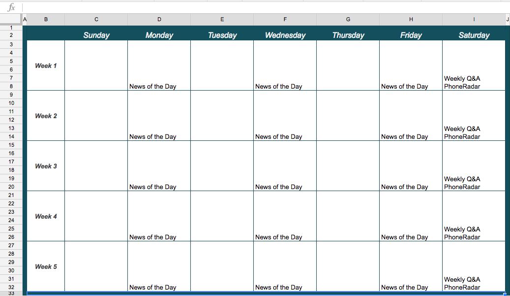 YouTube Programming Calendar Template
